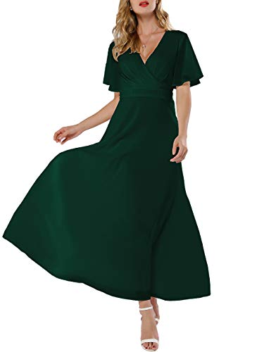 Azalosie Women Wrap Maxi Dress Short Sleeve Empire Waist Flowy Dress Wedding Formal Party Prom E ...