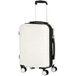 AmazonBasics Geometric Luggage Expandable Suitcase Spinner 20-Inch Cabin Size, Cream