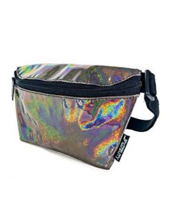 FYDELITY- Ultra-Slim Fanny Pack: LASER Black | Iridescent, Holographic, Rainbow