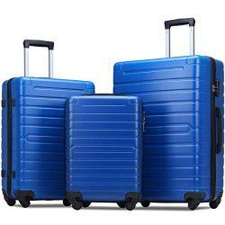 Flieks Luggage Sets 3 Piece Spinner Suitcase Lightweight 20 24 28 inch (Blue)