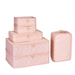 JJ POWER Travel Packing Cubes, Luggage Organizers with Shoe Bag (Pink Stripe)