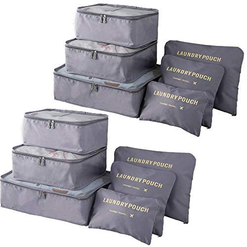 Packing Cubes (2 Sets /12 Pieces) Luggage Organizers/ Laundry Bags| JuneBugz Travel Accessory fo ...