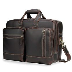 Texbo 17.3″ Expandable Full Grain Leather Briefcase Laptop Messenger Bag Business Travel B ...