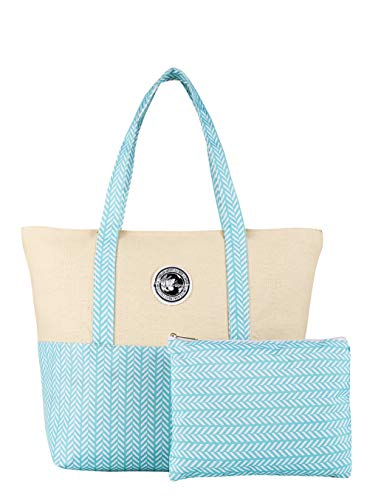 IHONEY Women Tote Bag for School Work Travel and Shopping Included a Dressing Bag, Blue