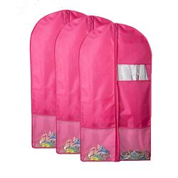 QEES 3 PCS Dance Garment Bags with Pockets, Pink Full Zipper Costume Dress Garment Bags for Stor ...