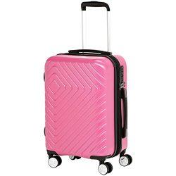 AmazonBasics Geometric Luggage Expandable Suitcase Spinner 20-Inch Cabin Size, Pink