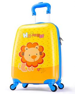 Boys Suitcase Hardshell Spinner Wheels – Kids Luggage 18 inch Carry On Lion Travel Trolley ...