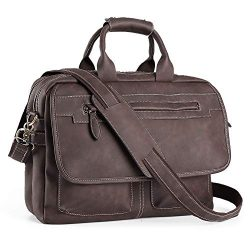 Men's Business Travel Briefcase PU Leather Handmade Messenger Bags Laptop Bag fits 15.6 in ...