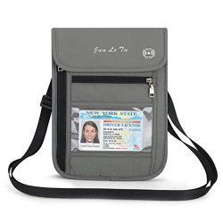 VIccoo Fashion Travel Pouch RFID Blocking Purse Neck Wallet Cards Money Passport Holder – Grey