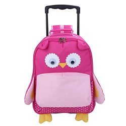 Yodo 3-Way Toddler Backpack with Wheels Little Kids Rolling Suitcase Luggage, Owl