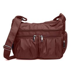 Crossbody Bags for Women, Multi Pocket Shoulder Bag Waterproof Nylon Travel Purses and Handbags  ...