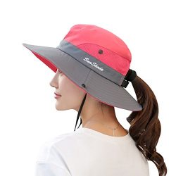 Muryobao Women's Summer Sun Hat Outdoor UV Protection Foldable Wide Brim Bucket Boonie Hat ...