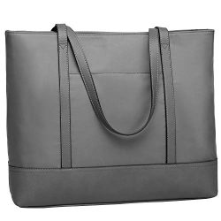 Laptop Tote Bag for Women, Large Capacity Work Bag Waterproof Nylon Fits 15.6 In, Grey