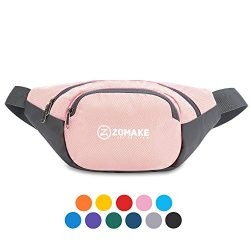 ZOMAKE Fanny Pack Water Resistant Waist Bag Hip Bum Bag for Men and Women, Large Compartment wit ...