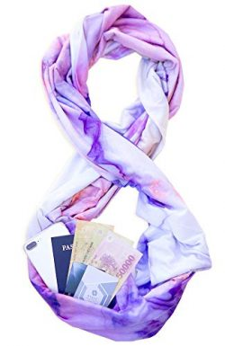 TRAVEL SCARF by WAYPOINT GOODS // Infinity Scarf w/Secret Hidden Zipper Pocket (Dream)