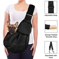 Lukovee Pet Sling, Hand Free Dog Sling Carrier Adjustable Padded Strap Tote Bag Breathable Cotto ...