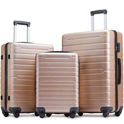 Flieks Luggage Sets 3 Piece Spinner Suitcase Lightweight 20 24 28 inch (Gold)