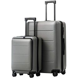 COOLIFE Luggage Suitcase Piece Set Carry On ABS+PC Spinner Trolley with Laptop pocket (Titanium  ...