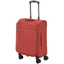 AmazonBasics Belltown Softside Luggage Spinner Suitcase Spinner – 21-Inch, Heather Red