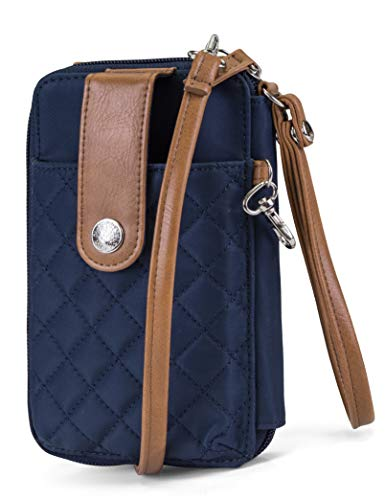 041737994 MUNDI Jacqui Vegan Leather RFID Womens Crossbody Cell Phone Purse Holder  Wallet (Navy Nylon)