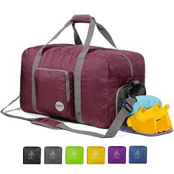 WANDF Foldable Duffle Bag for Travel Gym Sports Lightweight Luggage Duffel 38 Size & Color C ...