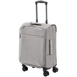 AmazonBasics Belltown Softside Luggage Spinner Suitcase Spinner – 21-Inch, Heather Grey