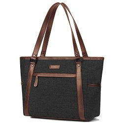 BRINCH Women Laptop Tote Bag Water Resistant Nylon Shoulder Handbag Ladies Work Briefcase Lightw ...