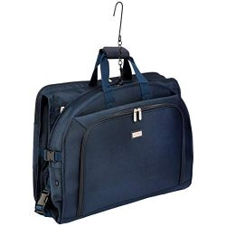 AmazonBasics Premium Tri-Fold Garment Bag, Navy Blue – 52″
