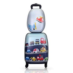 Winsday 18″ Kids Carry On Luggage Set Upright Hard Side Hard Shell Suitcase Travel Trolley ...