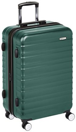 AmazonBasics Premium Hardside Spinner Luggage with Built-In TSA Lock – 24-Inch, Green