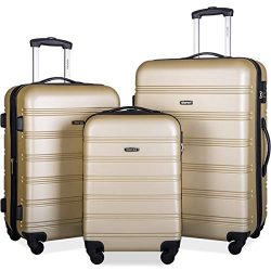Merax 3 Pcs Luggage Set Expandable Hardside Lightweight Spinner Suitcase (gold)