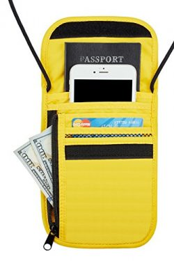 Travelambo Neck Wallet and Passport Holder Travel Wallet with RFID Blocking for Security (yellow)