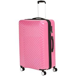 AmazonBasics Geometric Luggage Expandable Suitcase Spinner 28-Inch, Pink
