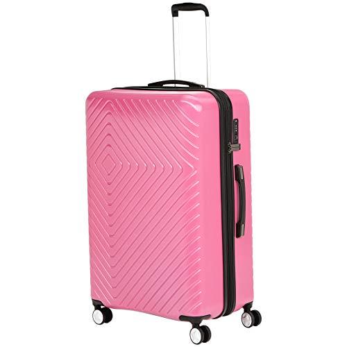 AmazonBasics Geometric Luggage Expandable Suitcase Spinner 28-Inch, Pink