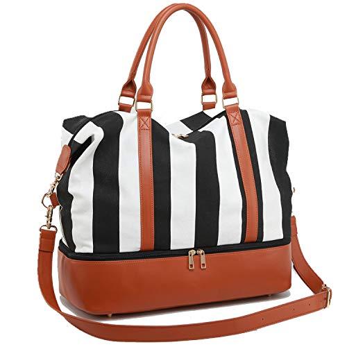 CAMTOP Women Ladies Weekender Travel Bag Canvas Overnight Carry-on Duffel Tote Luggage (Black wi ...