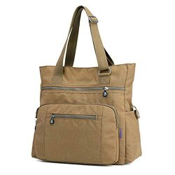 Multi Pocket Nylon Totes Handbag Large Shoulder Bag Travel Purse Bags For Women (X-Khaki)