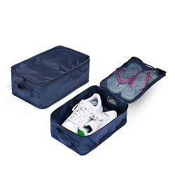 Travel Shoe Bags, Foldable Waterproof Shoe Pouches Organizer-Double Layer (2 Navy Bag)