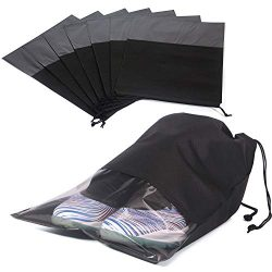 8 PCS Shoe Bags for Travel Waterproof Non-Woven Large Shoes Pouch Storage Organizer with Rope fo ...