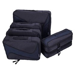 6 Set Packing Cubes – 3 Various Sizes Luggage Packing Organizers For Travel (Black)
