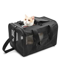 HITCH Pet Travel Carrier Soft Sided Portable Bag for Cats, Small Dogs, Kittens or Puppies, Colla ...