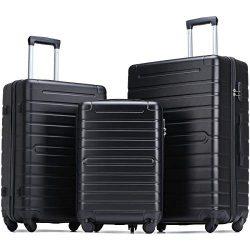 Flieks Luggage Sets 3 Piece Spinner Suitcase Lightweight 20 24 28 inch (Classic Black)