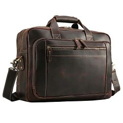 Texbo Men's Solid Thick Full Grain Leather 17.3″ Laptop Briefcase Messenger Bag Fit  ...