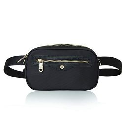 The Lovely Tote Co. Women's 2-way Fanny Pack Waterproof Crossbody Bag Waist Bag (One, Blac ...