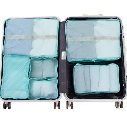 JJ POWER Travel Packing Cubes, Luggage Organizers with Shoe Bag (Lake Blue Stripe)