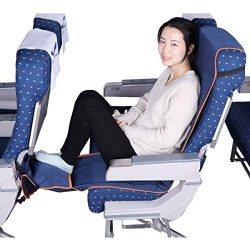 Travel Bread Airplane Footrest Hammock, Portable Travel Foot Rest with Inflatable Pillows, Adjus ...