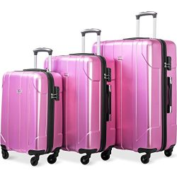 Merax Luggage 3 Piece Set P.E.T Luggage Spinner Suitcase Lightweight 20 24 28inch (pink)