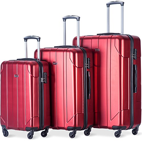 Merax Luggage 3 Piece Set P.E.T Luggage Spinner Suitcase Lightweight 20 24 28inch (red)