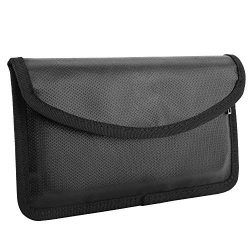 MoKo Fireproof Signal Blocking Bag, GPS RFID Faraday Bag Shield Cage Pouch Wallet Protective Cas ...