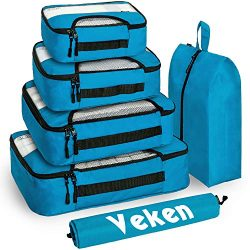 Veken 6 Set Packing Cubes, Travel Luggage Organizers with Laundry Bag & Shoe Bag (Blue(Upgra ...