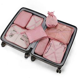 Travel Packing Cubes 8 Pcs Set, Luggage Packing Organizers with Shoe Bag and Toiletry Bag (Light ...